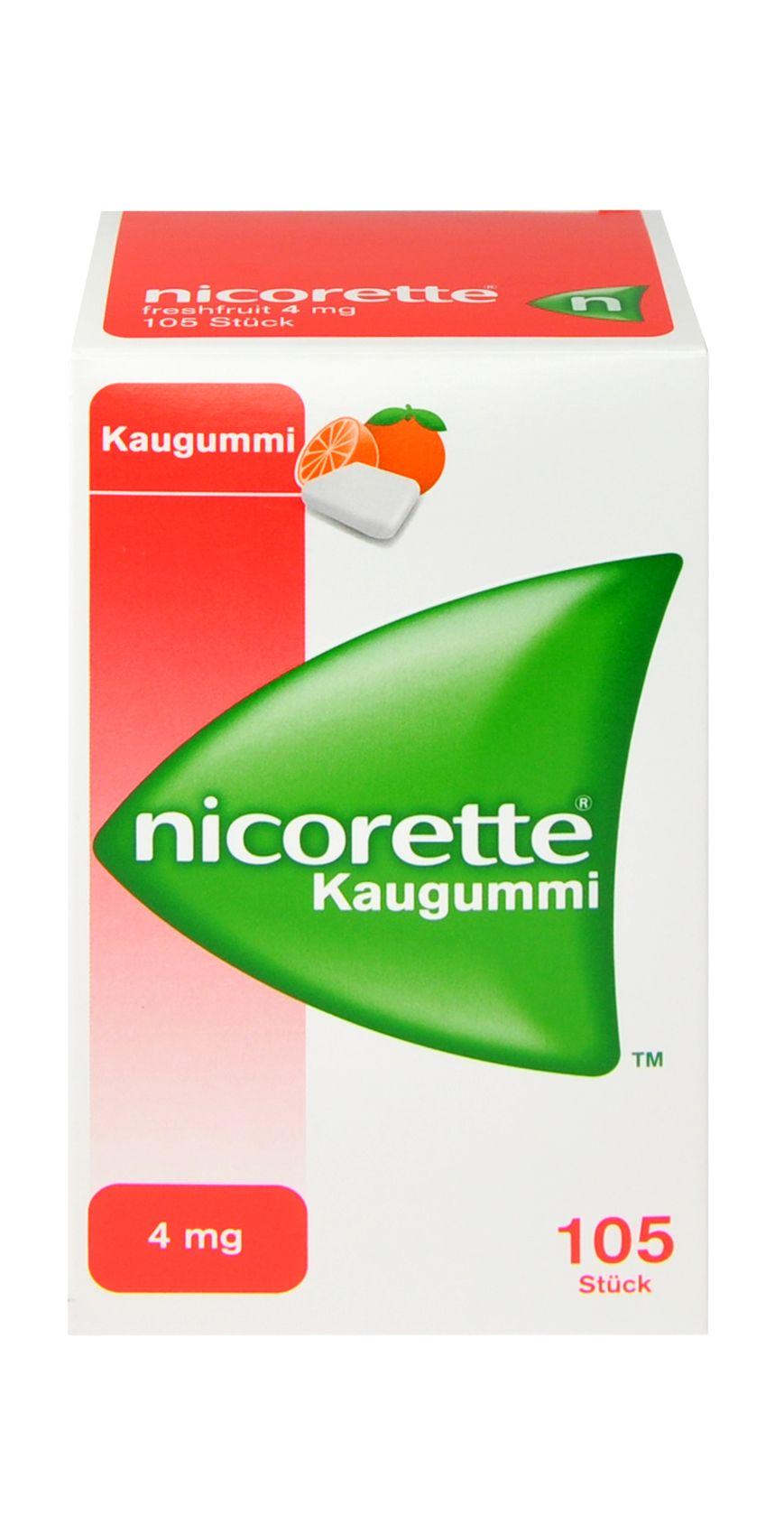 Verpackung von Nicorette Freshfruit 4 mg - Kaugummi zur Raucherentwöhnung